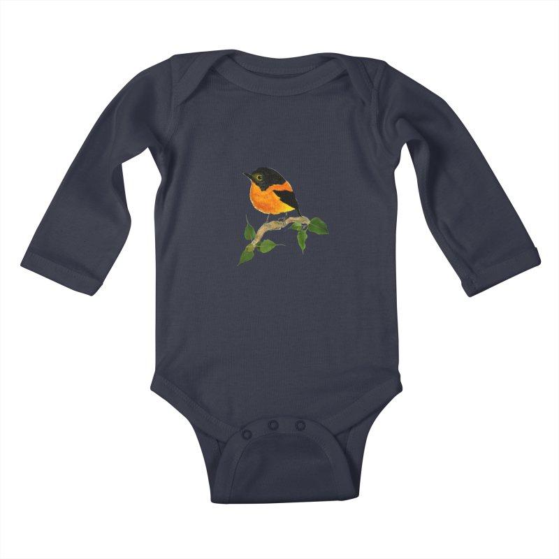 Orange FlyCatcher Kids Baby Longsleeve Bodysuit by Hue Hub