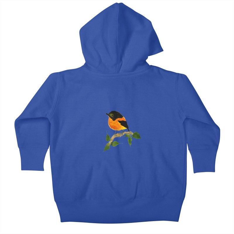 Orange FlyCatcher Kids Baby Zip-Up Hoody by Hue Hub