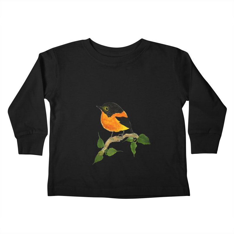 Orange FlyCatcher Kids Toddler Longsleeve T-Shirt by Hue Hub