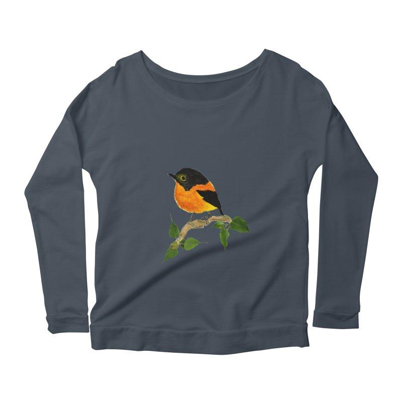 Orange FlyCatcher Women's Scoop Neck Longsleeve T-Shirt by Hue Hub