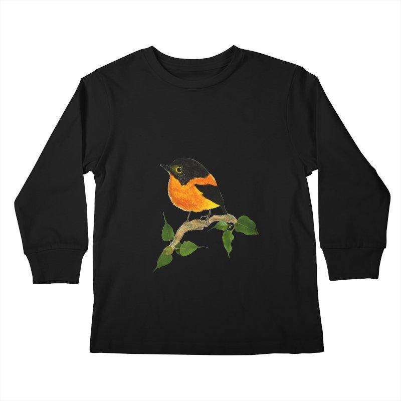 Orange FlyCatcher Kids Longsleeve T-Shirt by Hue Hub