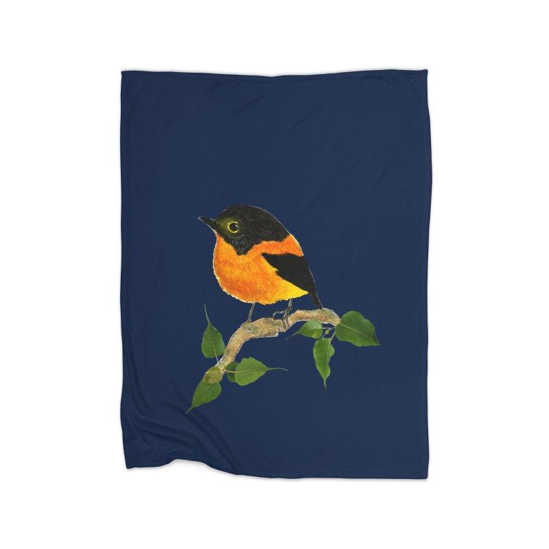Orange FlyCatcher Home Fleece Blanket Blanket by Hue Hub