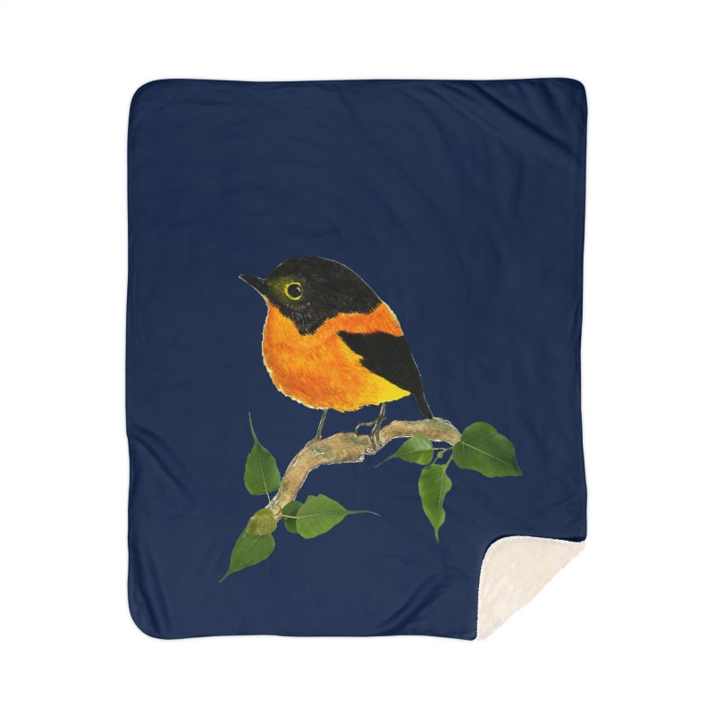 Orange FlyCatcher Home Sherpa Blanket Blanket by Hue Hub