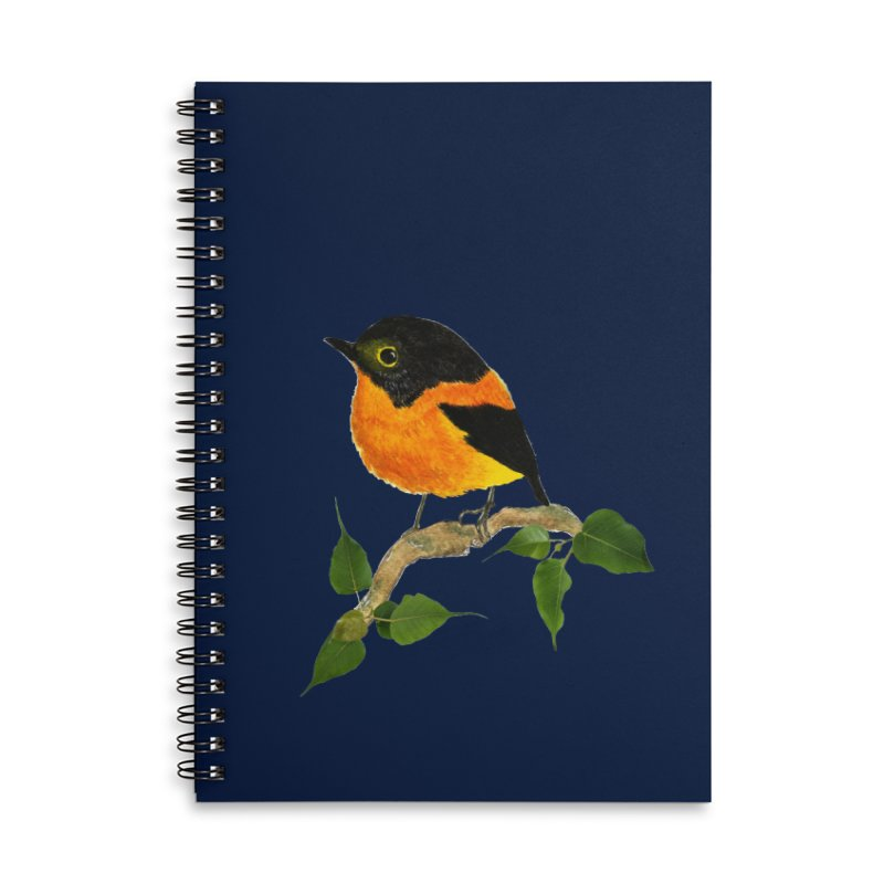 Orange FlyCatcher Accessories Lined Spiral Notebook by Hue Hub