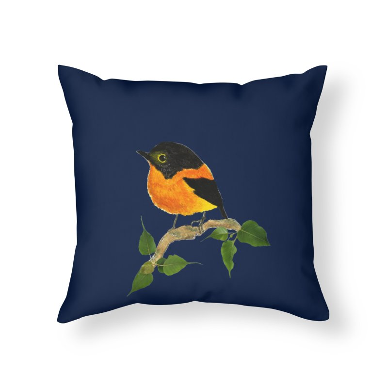 Orange FlyCatcher Home Throw Pillow by Hue Hub