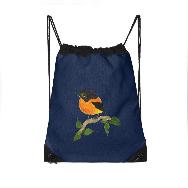 Orange FlyCatcher Accessories Drawstring Bag Bag by Hue Hub