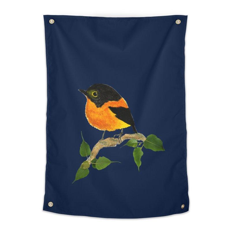 Orange FlyCatcher Home Tapestry by Hue Hub
