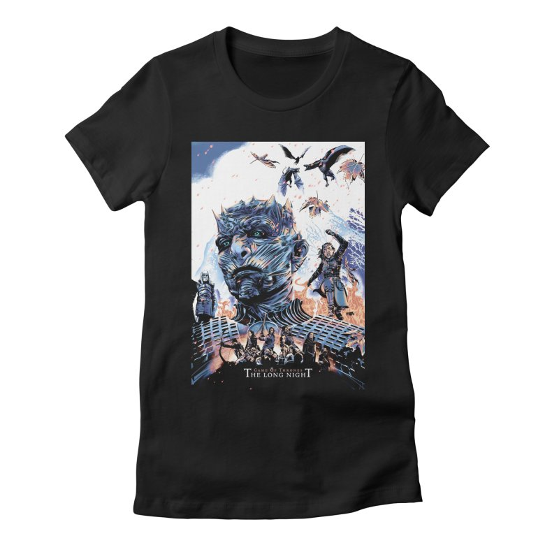 The Long Night Women's Fitted T-Shirt by Huevart's Artist Shop
