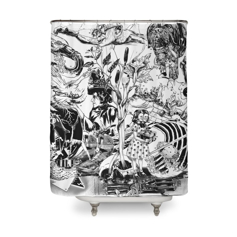 INKTOBER 2018 Home Shower Curtain by Huevart's Artist Shop