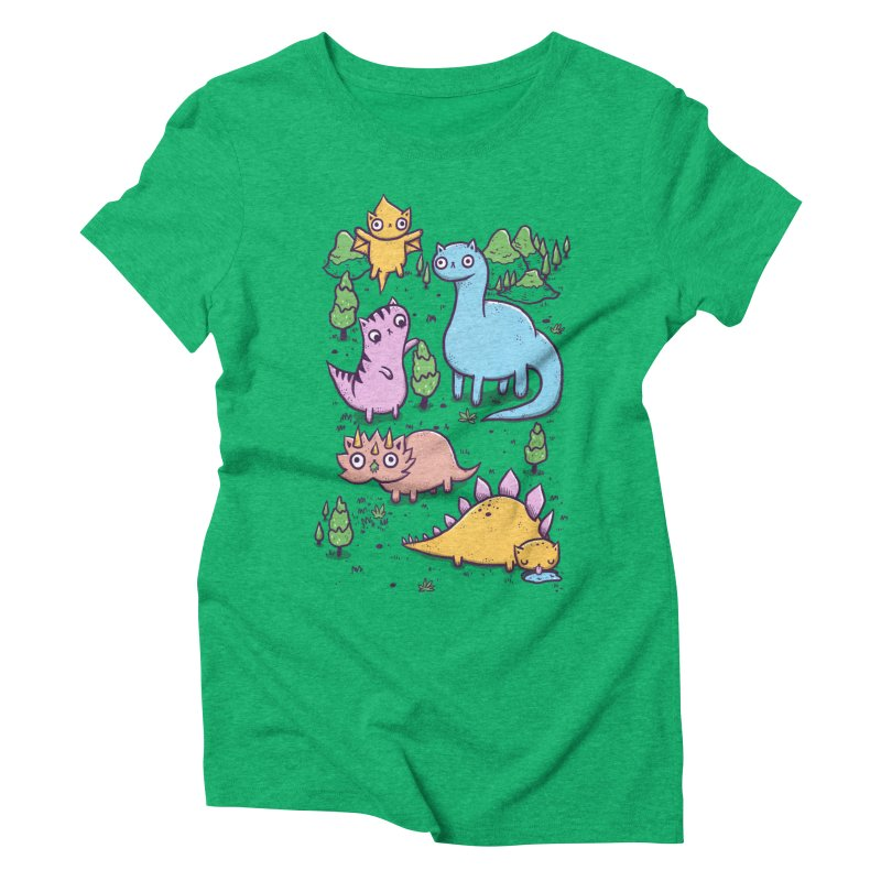 Prehistoric Cats Women's Triblend T-Shirt by Hugo Diaz