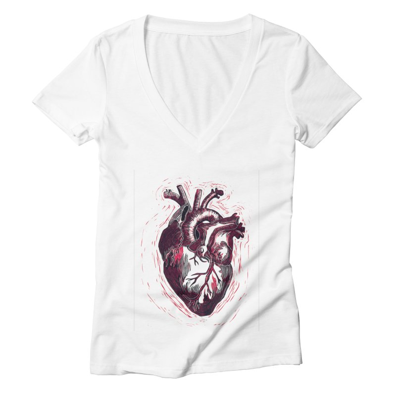 Anatomical Heart Women's Deep V-Neck V-Neck by HumAlong Productions