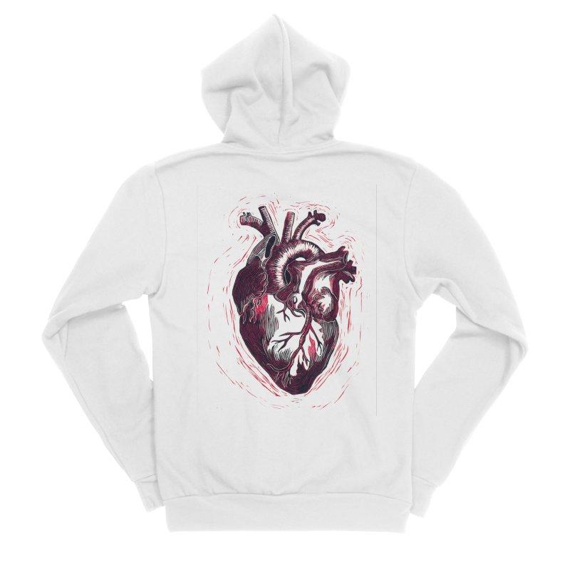 Anatomical Heart Women's Sponge Fleece Zip-Up Hoody by HumAlong Productions