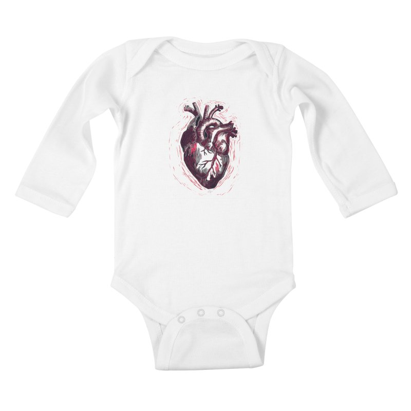 Anatomical Heart Kids Baby Longsleeve Bodysuit by HumAlong Productions