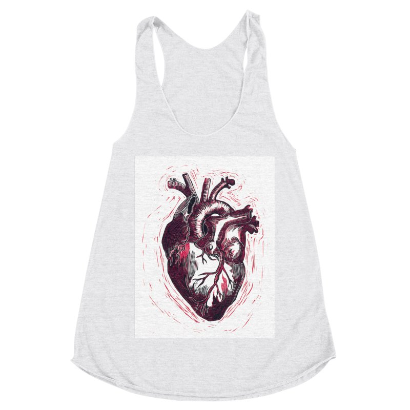 Anatomical Heart Women's Racerback Triblend Tank by HumAlong Productions