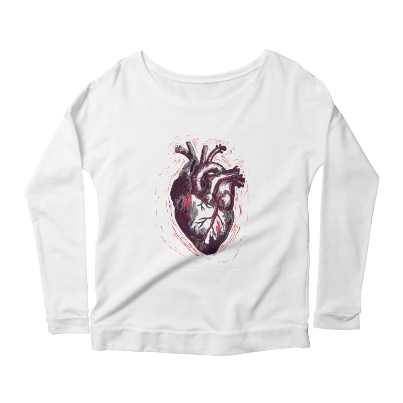 Anatomical Heart Women's Scoop Neck Longsleeve T-Shirt by HumAlong Productions