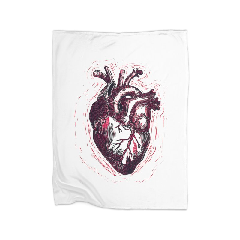 Anatomical Heart Home Fleece Blanket Blanket by HumAlong Productions