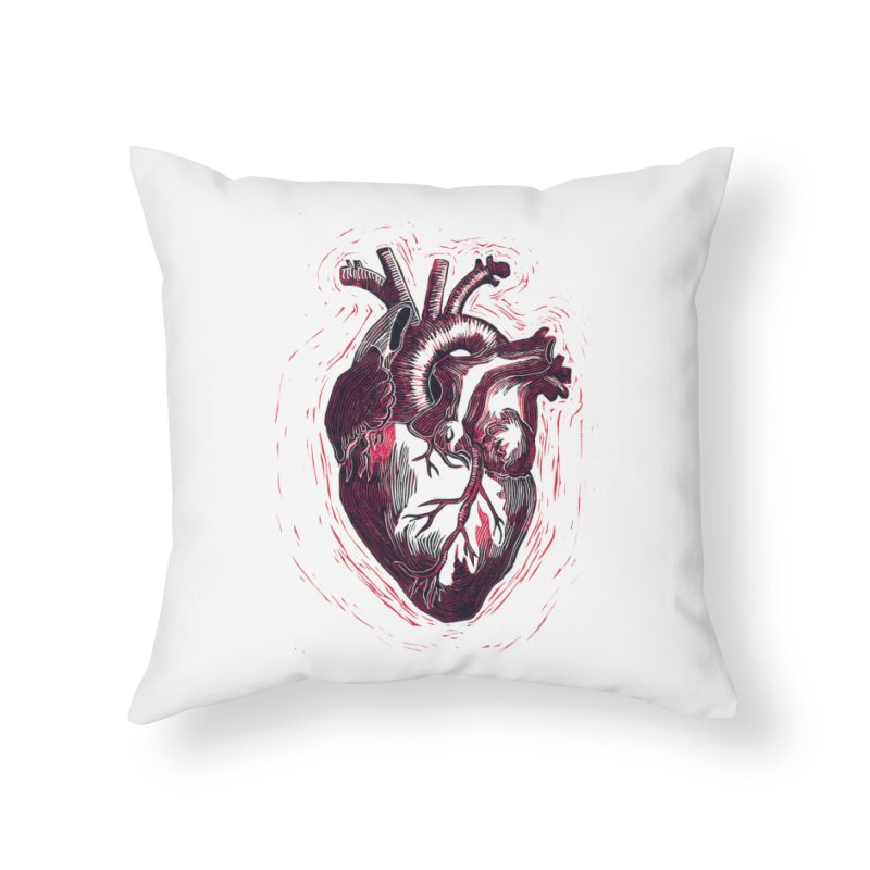 Anatomical Heart Home Throw Pillow by HumAlong Productions