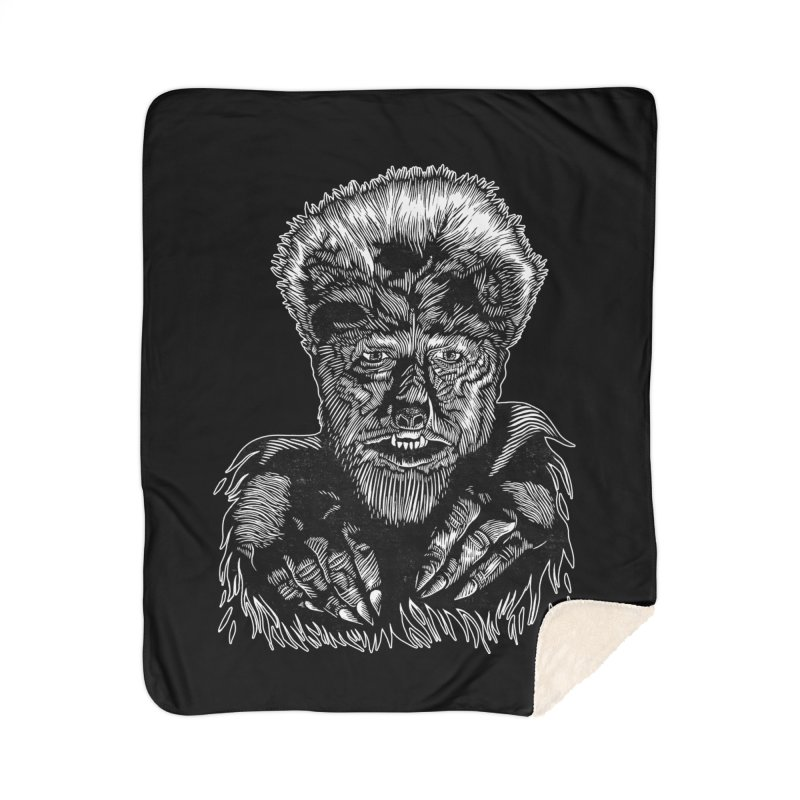 Wolfman Home Sherpa Blanket Blanket by HumAlong Productions