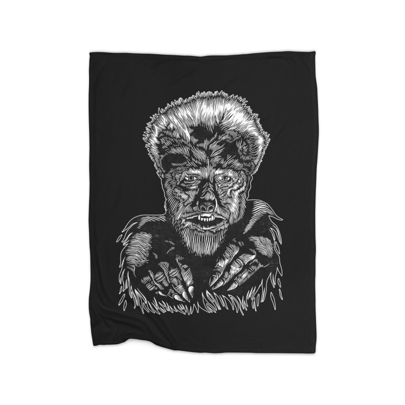Wolfman Home Fleece Blanket Blanket by HumAlong Productions