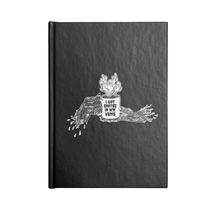 Coffee in My Veins Accessories Blank Journal Notebook by HumAlong Productions