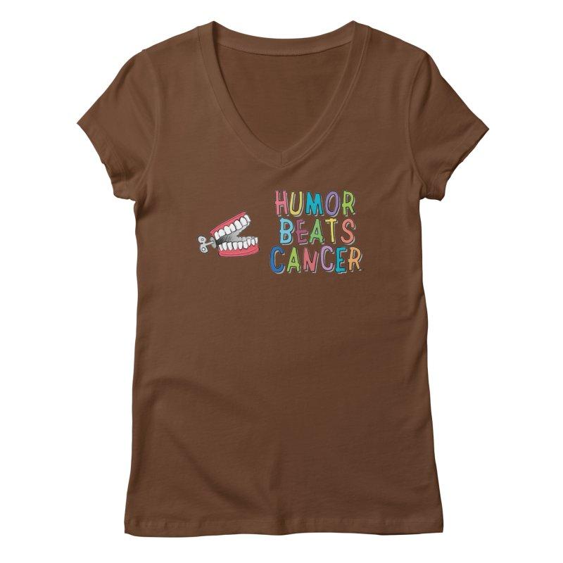 Humor Beats Cancer Women's Regular V-Neck by Humor Beats Cancer's Artist Shop