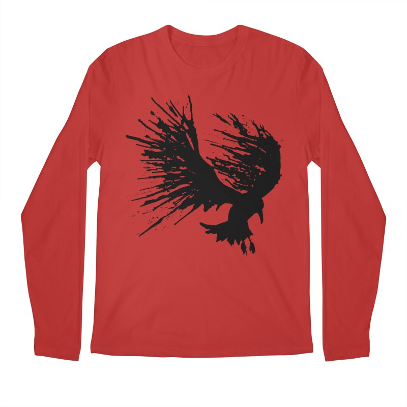 Bird Splatter Black Men's Longsleeve T-Shirt by Hump