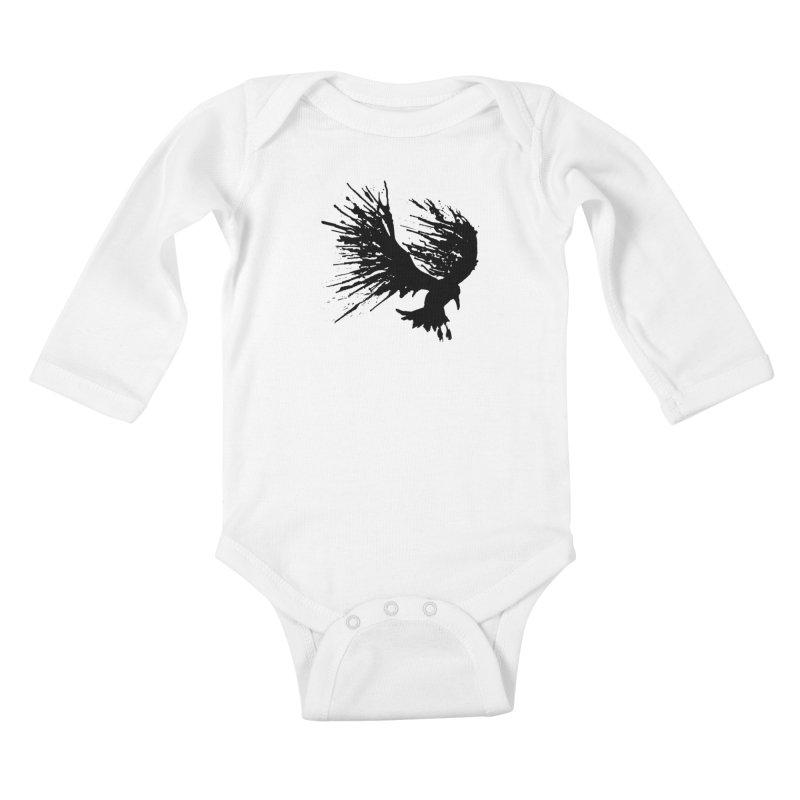 Bird Splatter Black Kids Baby Longsleeve Bodysuit by Hump