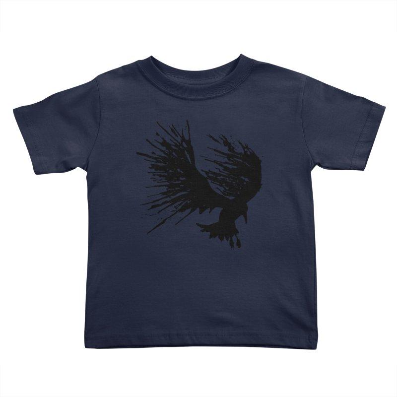 Bird Splatter Black Kids Toddler T-Shirt by Hump