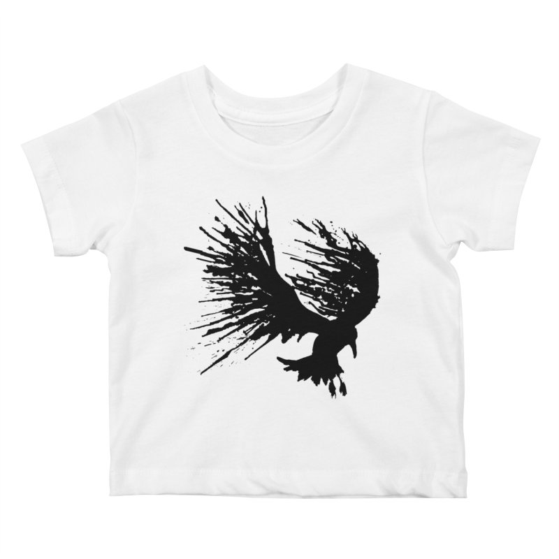 Bird Splatter Black Kids Baby T-Shirt by Hump