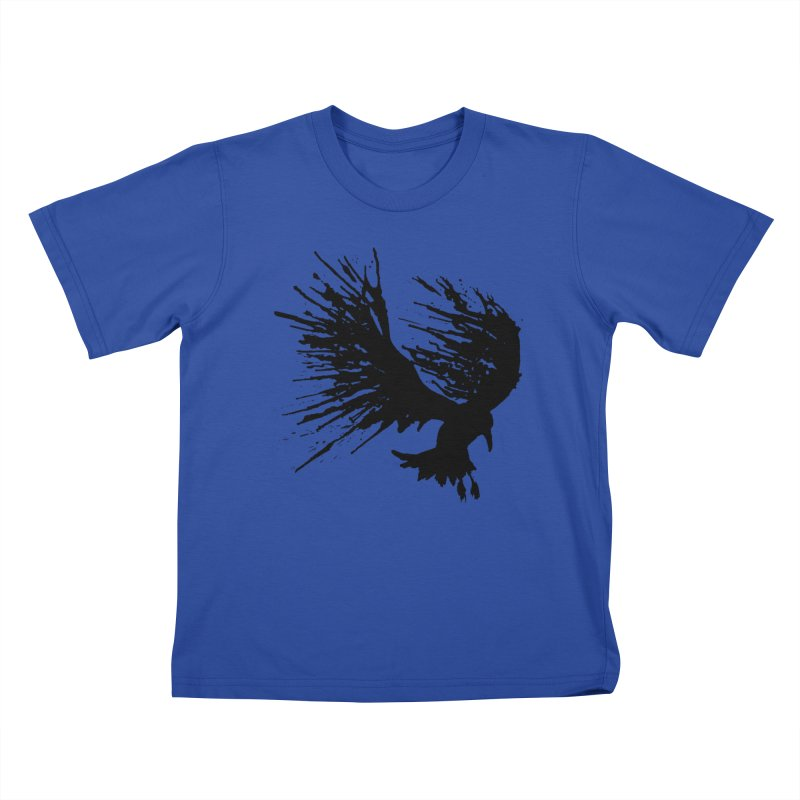Bird Splatter Black Kids T-shirt by Hump