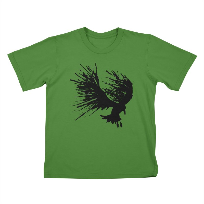 Bird Splatter Black Kids T-Shirt by Hump