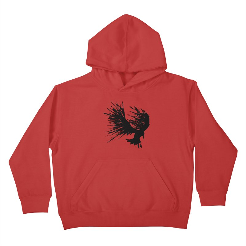 Bird Splatter Black Kids Pullover Hoody by Hump