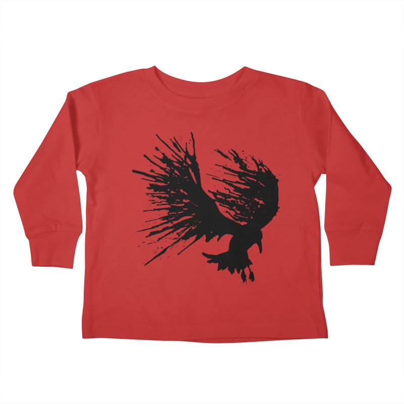 Bird Splatter Black Kids Toddler Longsleeve T-Shirt by Hump