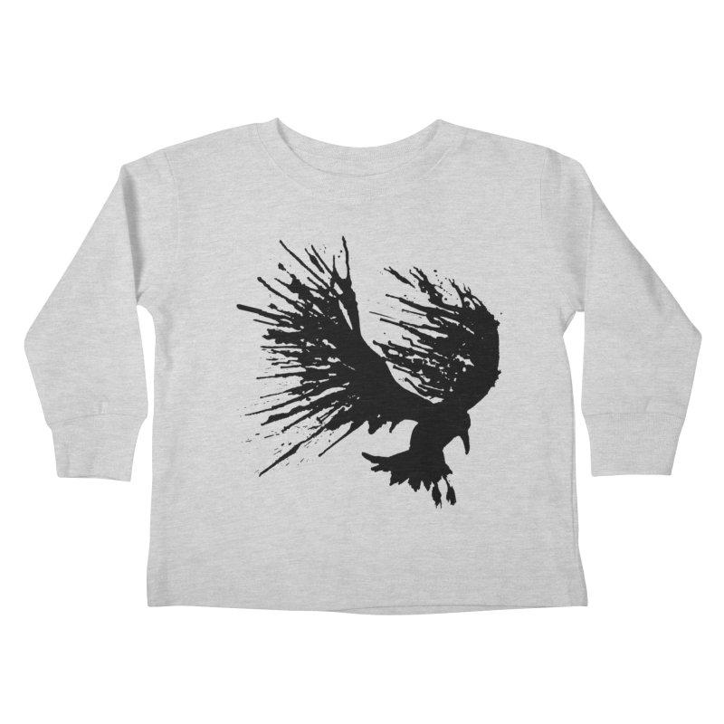 Bird Splatter Black Kids Toddler Longsleeve T-Shirt by Hump