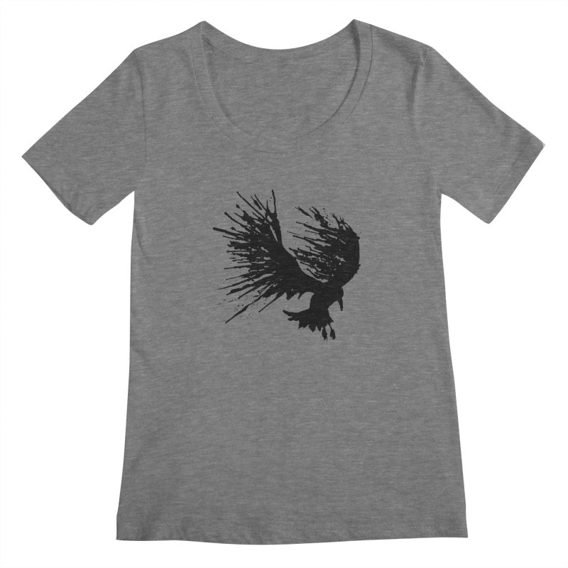 Bird Splatter Black Women's Scoopneck by Hump