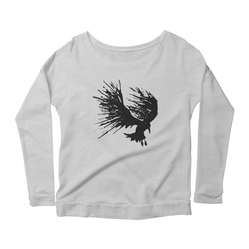 Bird Splatter Black Women's Longsleeve Scoopneck  by Hump