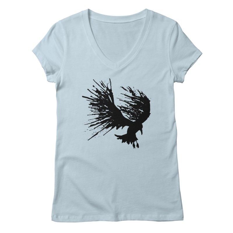 Bird Splatter Black Women's V-Neck by Hump