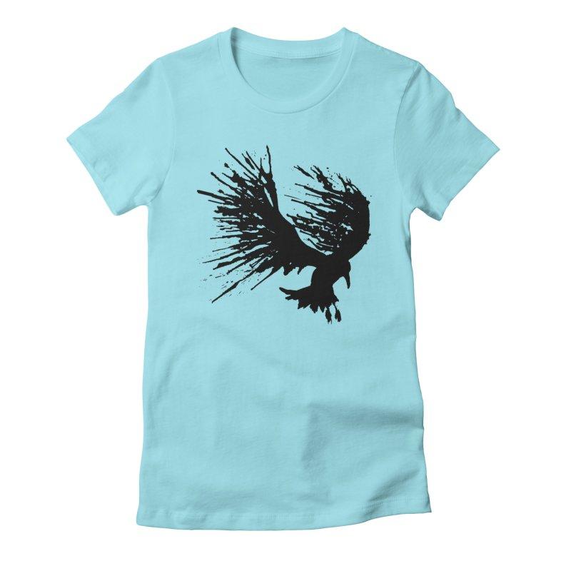 Bird Splatter Black Women's Fitted T-Shirt by Hump