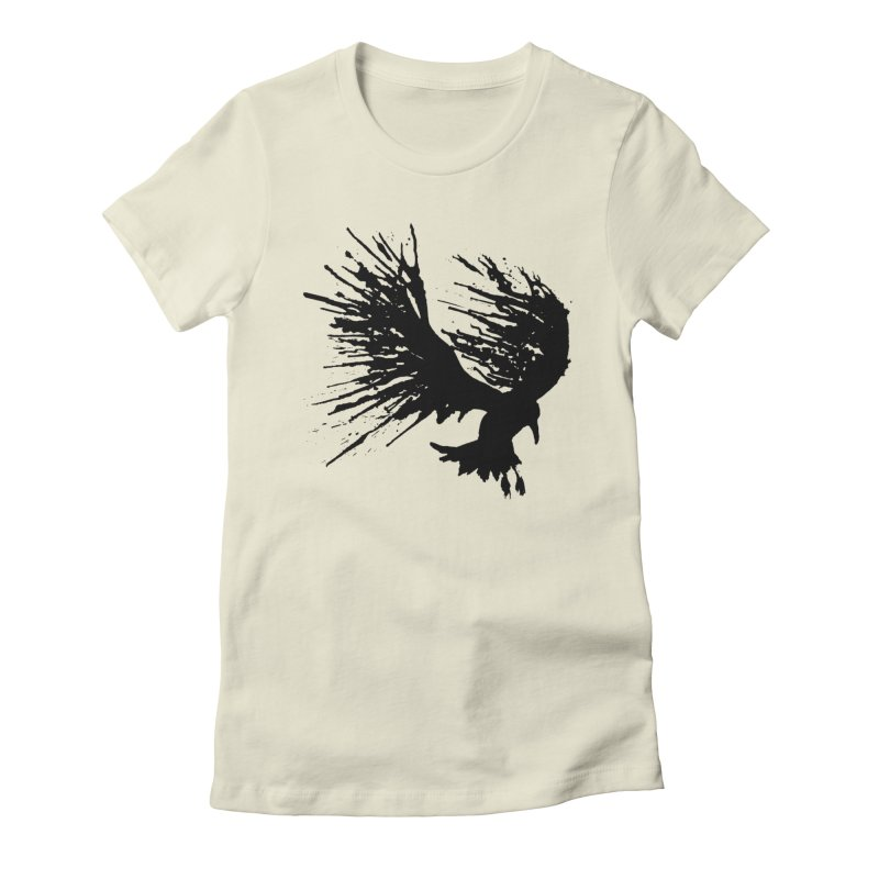 Bird Splatter Black Women's Fitted T-Shirt by Hump