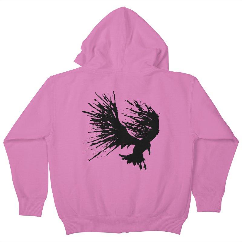 Bird Splatter Black Kids Zip-Up Hoody by Hump