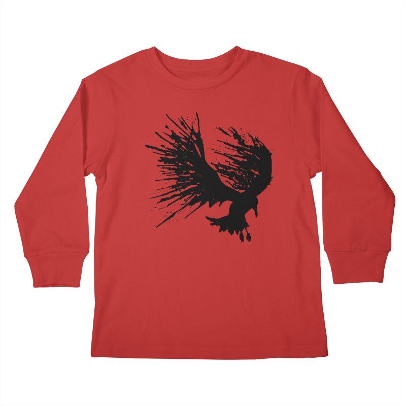 Bird Splatter Black Kids Longsleeve T-Shirt by Hump
