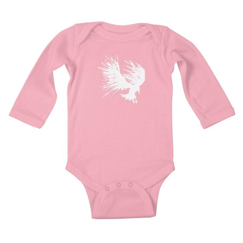 Bird Splatter White Kids Baby Longsleeve Bodysuit by Hump