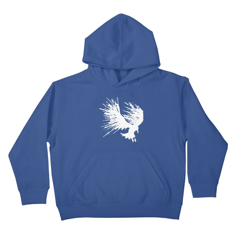 Bird Splatter White Kids Pullover Hoody by Hump