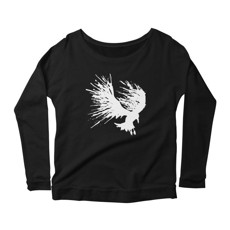 Bird Splatter White Women's Longsleeve Scoopneck  by Hump