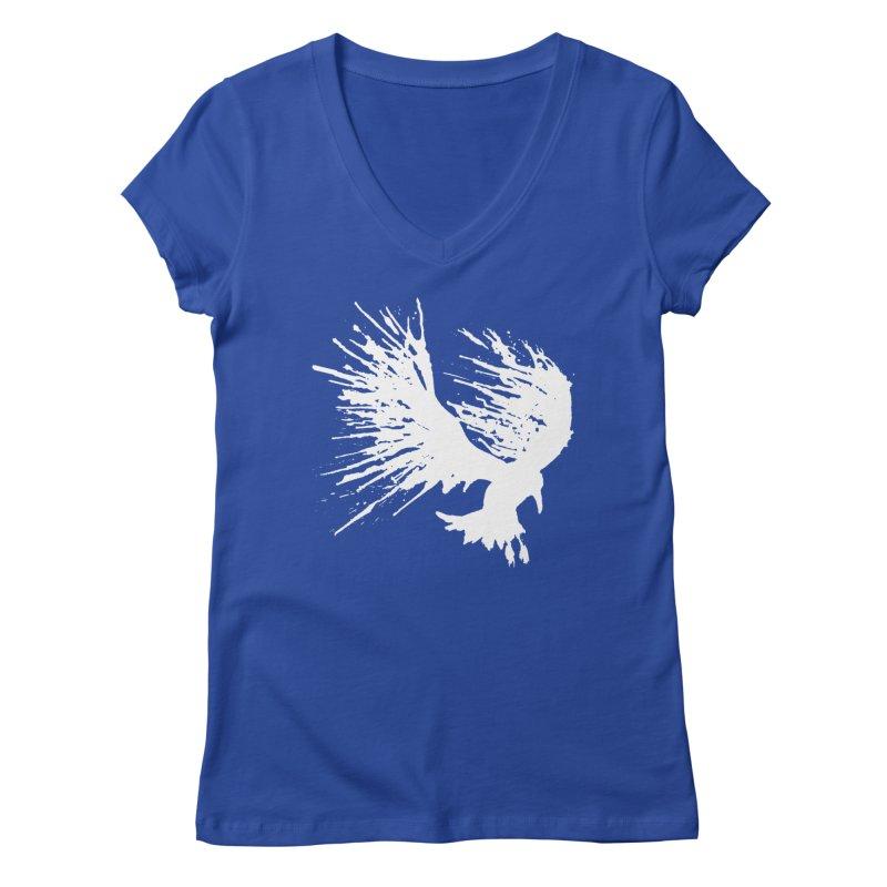 Bird Splatter White Women's V-Neck by Hump