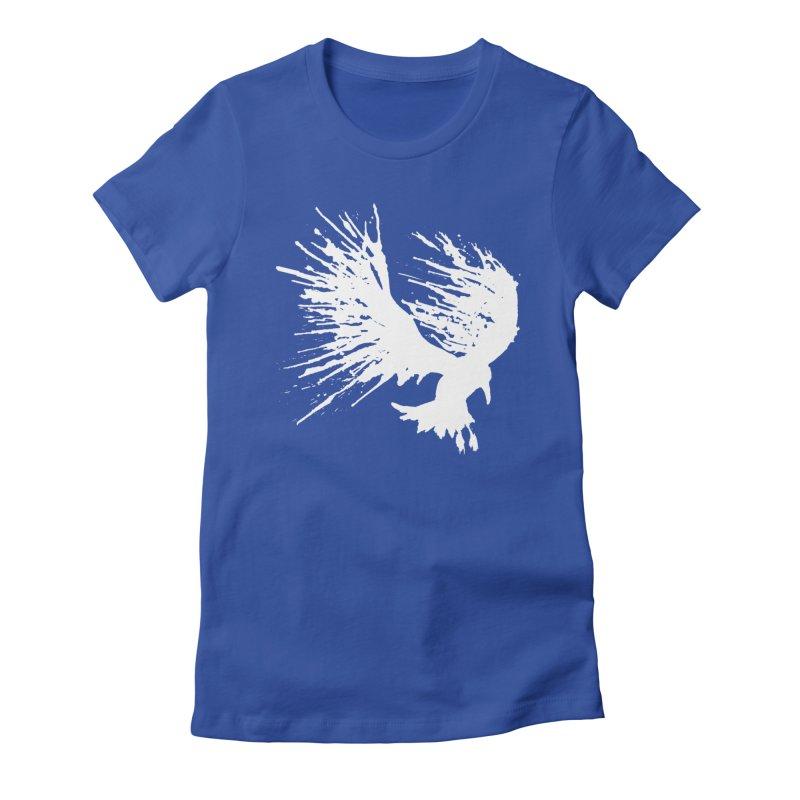 Bird Splatter White Women's Fitted T-Shirt by Hump