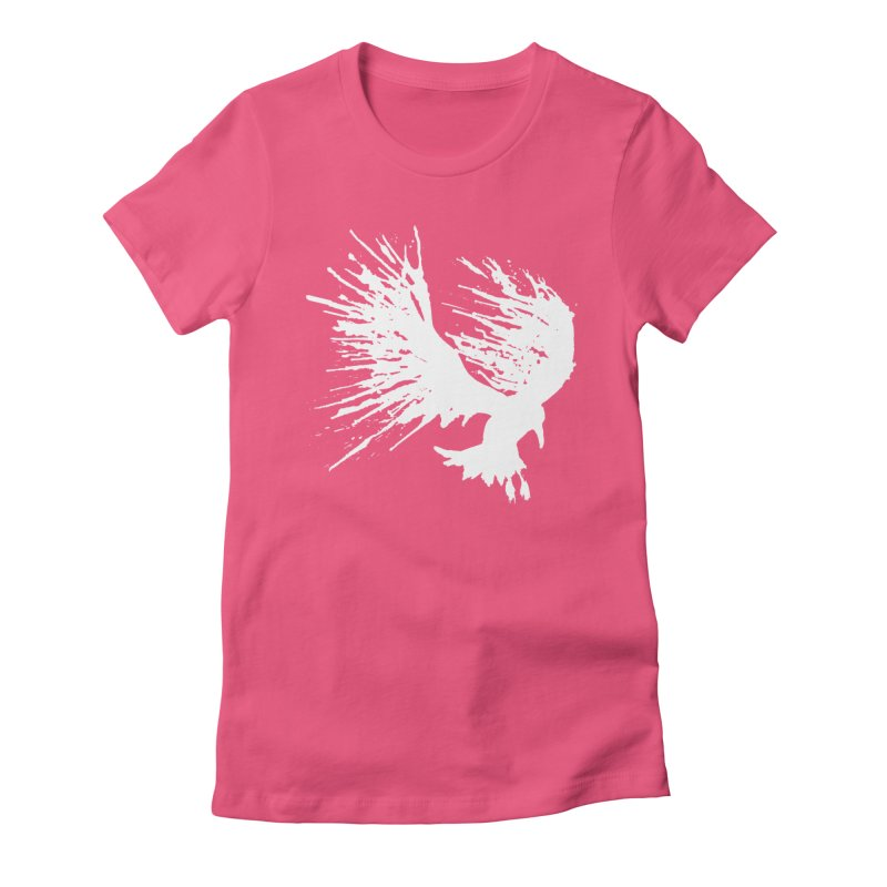 Bird Splatter White Women's Fitted T-Shirt by Hump