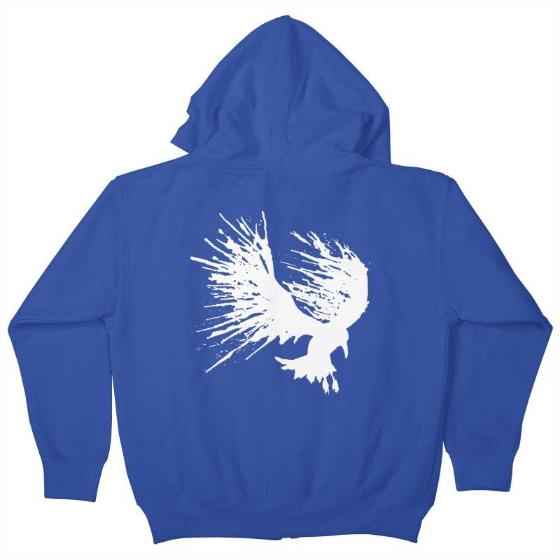 Bird Splatter White Kids Zip-Up Hoody by Hump