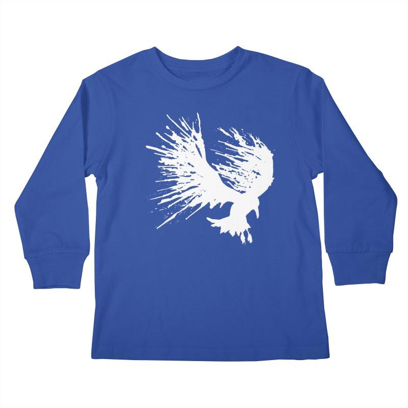 Bird Splatter White Kids Longsleeve T-Shirt by Hump
