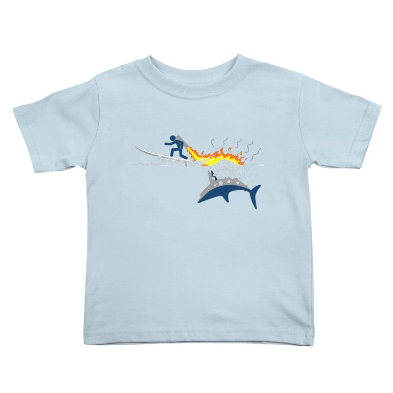 Jet-Pack VS. Shark Kids Toddler T-Shirt by Hump